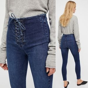 Free People High Waist Lace Up Jeggings